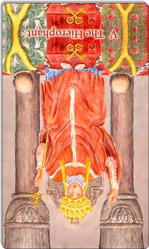Image of The Hierophant card reversed