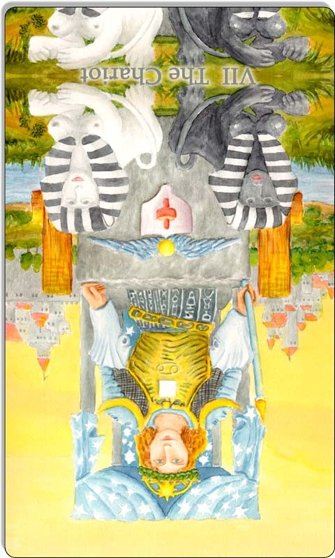 Image of The Chariot card reversed