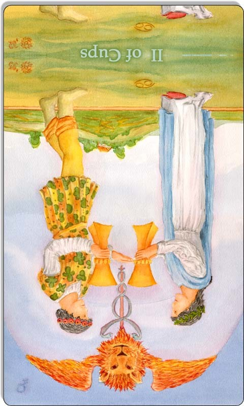 Image of The Two of Cups card reversed