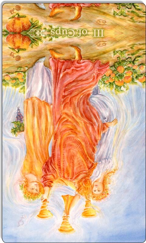 Image of The Three of Cups card reversed