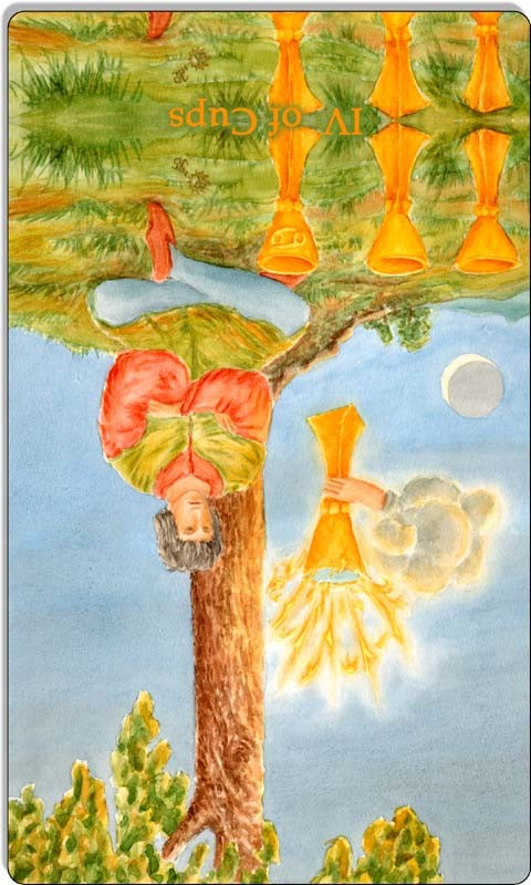 Image of The Four of Cups card reversed