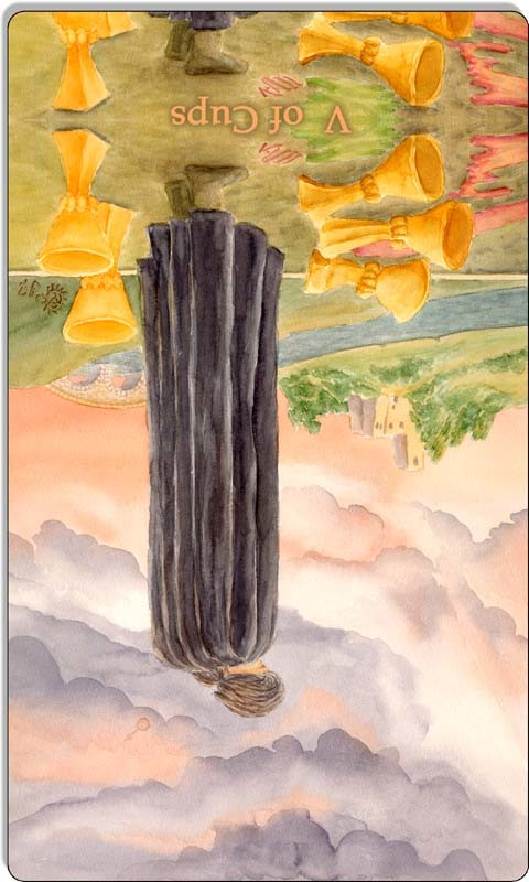 Image of The Five of Cups card reversed
