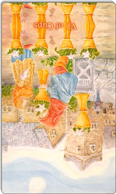 Image of The Six of Cups card reversed