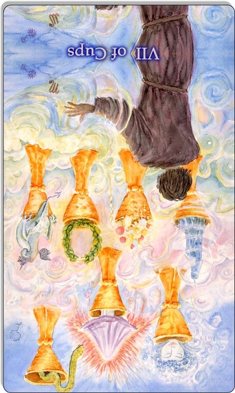 Image of The Seven of Cups card reversed