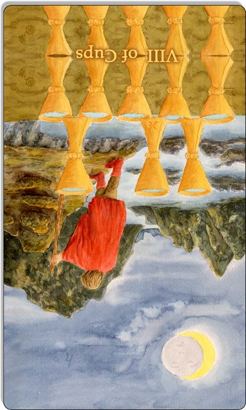 Image of The Eight of Cups card reversed