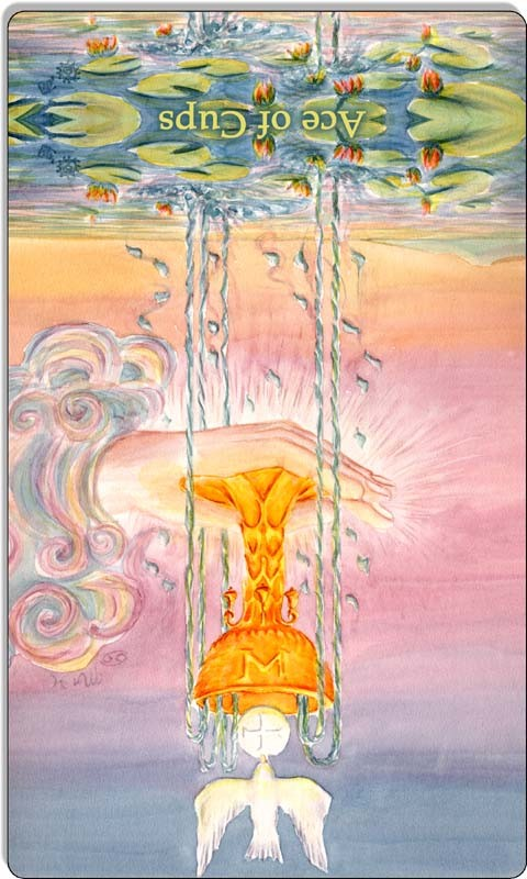 Image of The Ace of Cups card reversed