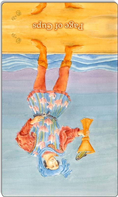 Image of The Page of Cups card reversed