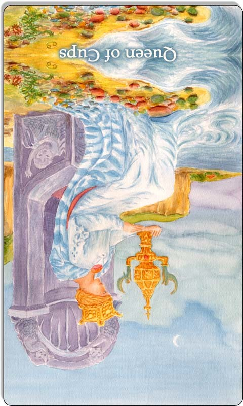 Image of The Queen of Cups card reversed