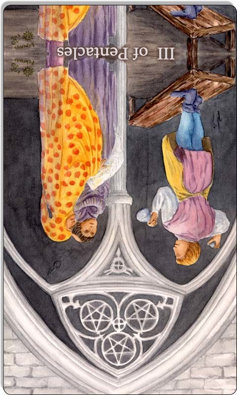 Image of The Three of Pentacles card reversed