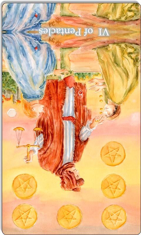 Image of The Six of Pentacles card reversed