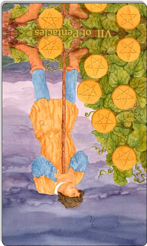 Image of The Seven of Pentacles card reversed