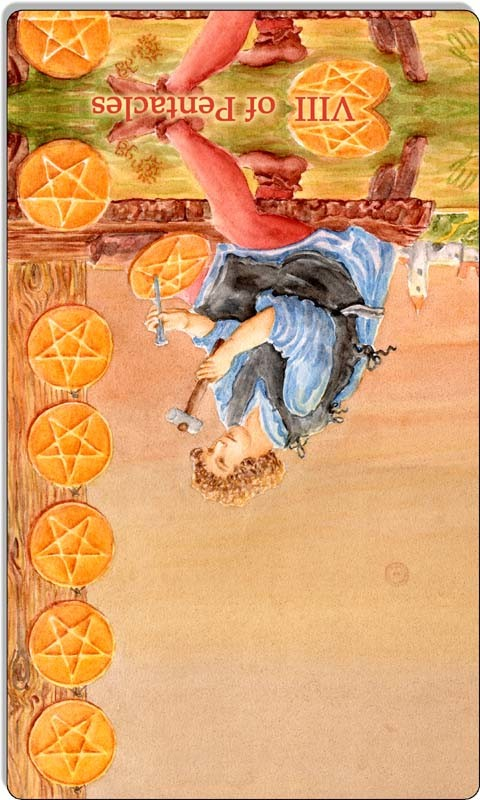 Image of The Eight of Pentacles card reversed