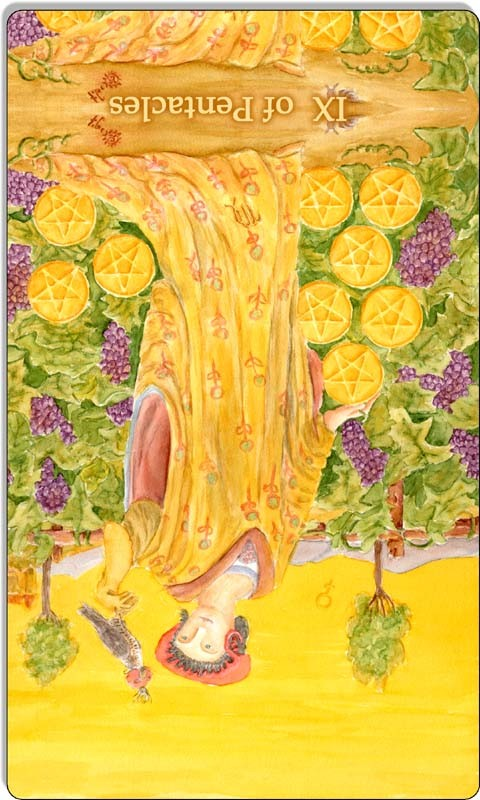 Image of The Nine of Pentacles card reversed