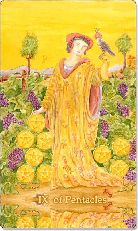 Image of The Nine of Pentacles card