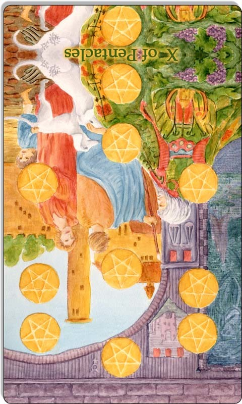 Image of The Ten of Pentacles card reversed