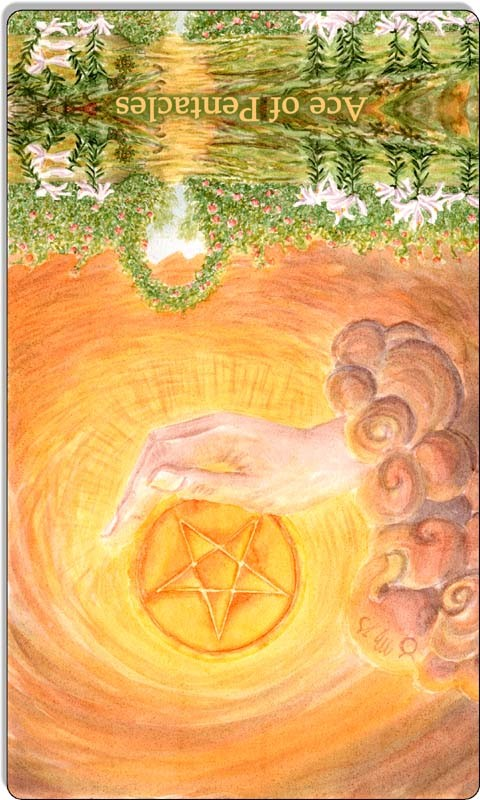 Image of The Ace of Pentacles card reversed