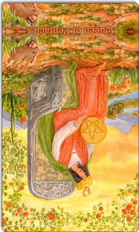 Image of The Queen of Pentacles card reversed
