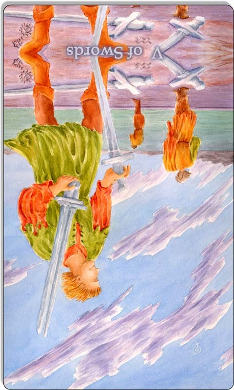 Image of The Five of Swords card reversed