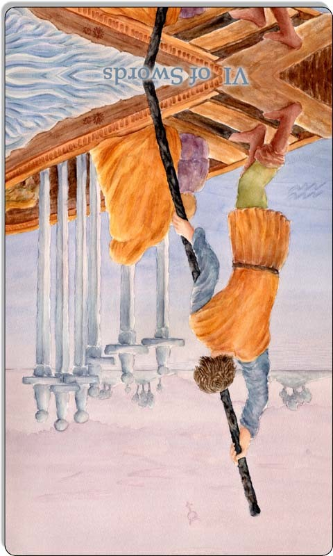 Image of The Six of Swords card reversed