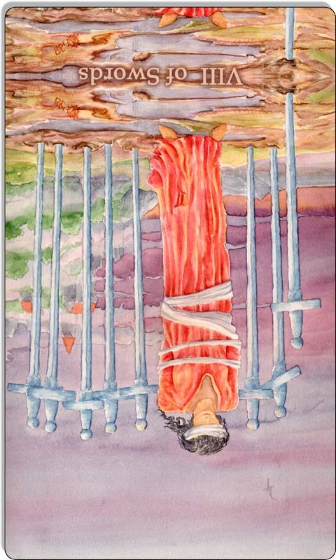 Image of The Eight of Swords card reversed