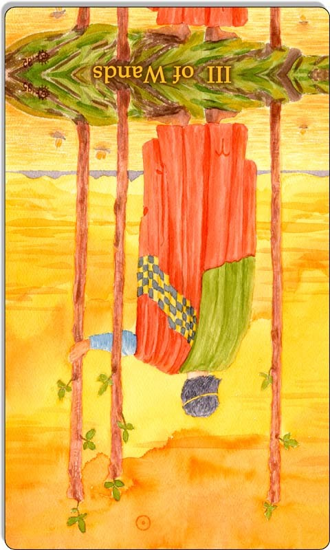 Image of The Three of Wands cardreversed