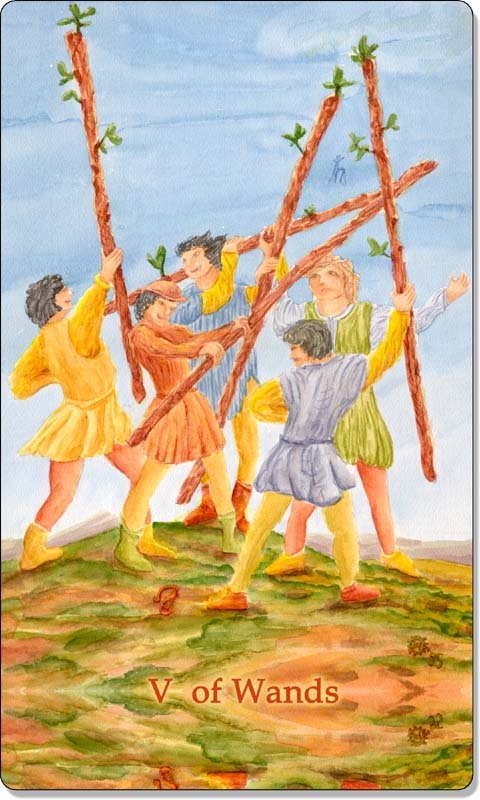 Image of The Five of Wands card