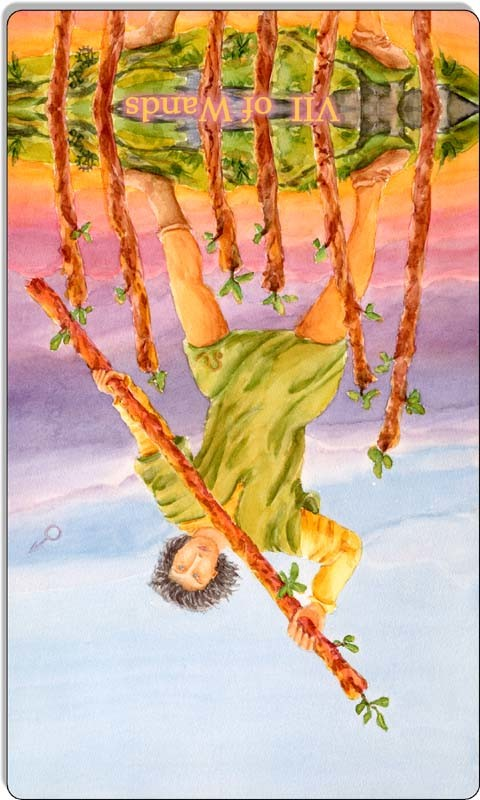 Image of The Seven of Wands card reversed