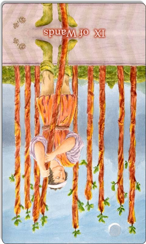 Image of The Nine of Wands card reversed