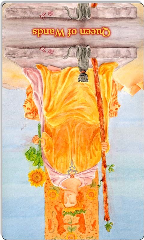 Image of The Queen of Wands card reversed