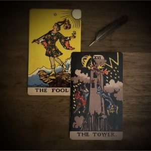 The Fool and The Tower Tarot Cards representing Uranus